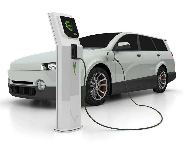 Electric car plugged into a charging station